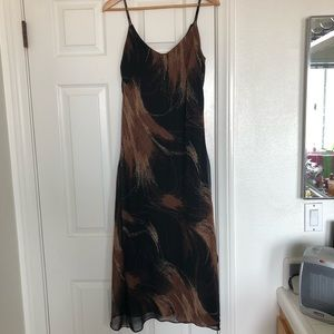 Black and Brown Patterned Maxi Dress
